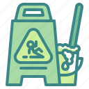 bucket, cleaning, floor, mop, signaling, warning, wet icon