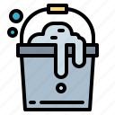 bubbles, bucket, cleaning, washing icon