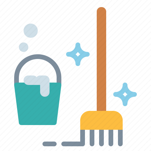 bucket, clean, cleaning, mop icon