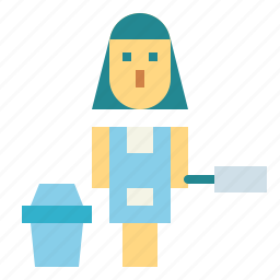 cleaning, maid, occupation, woman icon