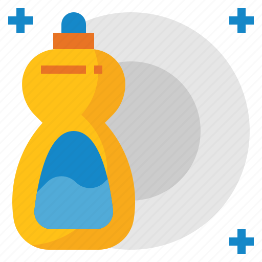 cleaning, dishes, liquid, plates, soap, washing icon