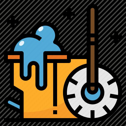 broom, bucket, cleaning, housekeeping, mop icon