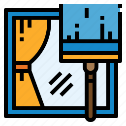 clean, cleaning, curtains, sign, window icon
