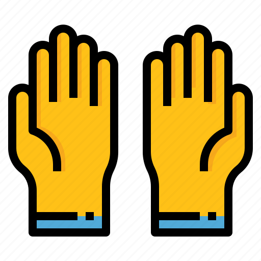 cleaning, glove, hand, washing icon