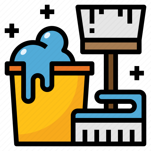 brush, bucket, cleaning, duster, mop icon