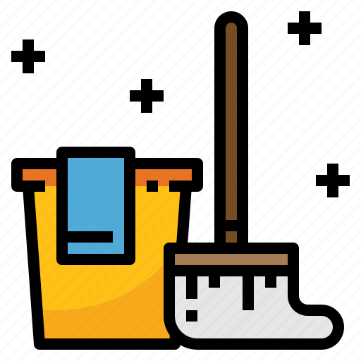 bucket, cleaning, household, housekeeping, mop, wash icon