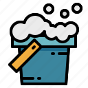 bubble, bucket, cleaning, washing icon