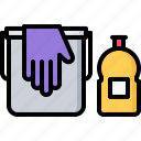 bucket, clean, cleaner, cleaning, dishwashing, glove, liquid icon