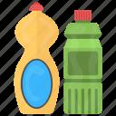 clothing care, detergent bottle, dishwashing liquid, laundry wash, liquid detergent icon
