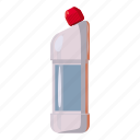 bottle, cartoon, chemical, cleaner, drain, pipe, plumber icon