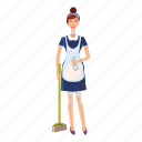 cartoon, female, maid, people, service, uniform, woman icon