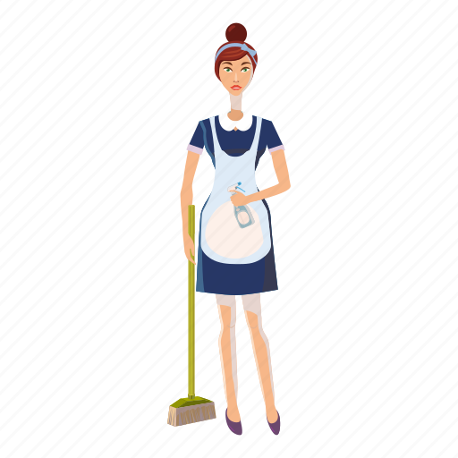 Cartoon, female, maid, people, service, uniform, woman icon - Download on Iconfinder