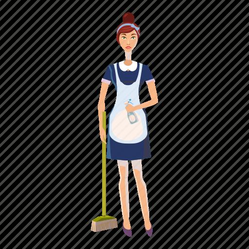 cartoon, female, maid, people, service, uniform, woman icon