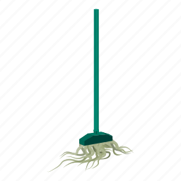 cartoon, clean, equipment, handle, housework, mop, rope icon
