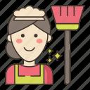 female, housekeeper, woman icon