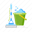 bucket, cleaning, floor, housekeeping, mop, service, wash icon