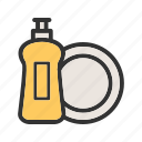 dish, kitchen, lemon, liquid, soap, wash, washing icon