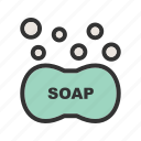 bubbles, clean, foam, liquid, soap, water, wet icon