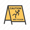 caution, floor, safety, sign, slippery, warning, wet icon