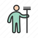 broom, cleaner, hand, holding, man, mop, worker icon