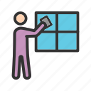 cleaning, glass, man, washer, water, window, work icon