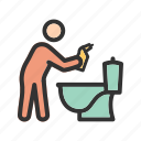 bathroom, cleaning, home, man, rag, tap, water icon