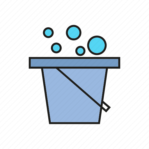 bubble, bucket, cleaning tool, household, hygiene, washing up, water icon