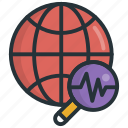 analysis, observation, research, science, world icon