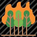 bush fire, desert fire, forest fire, grass fire, hill fire, wildfire icon