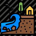 disaster, erosion, landslide, climate change, coastal erosion icon