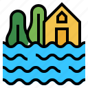 climate change, disaster, flood, flooding, inundation icon