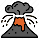 climate change, disaster, eruption, lava, volcano, volcano eruptions icon