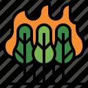 wildfire, bush fire, desert fire, forest fire, grass fire, hill fire icon