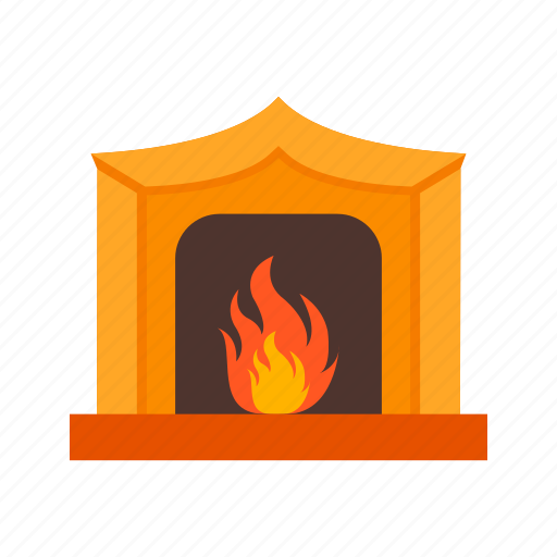Winter, burning, fire, warm, home, fireplace, cabin icon