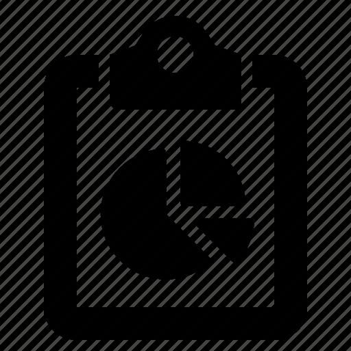 analytics, chart, clipboard, metrics, pie, report, sales icon