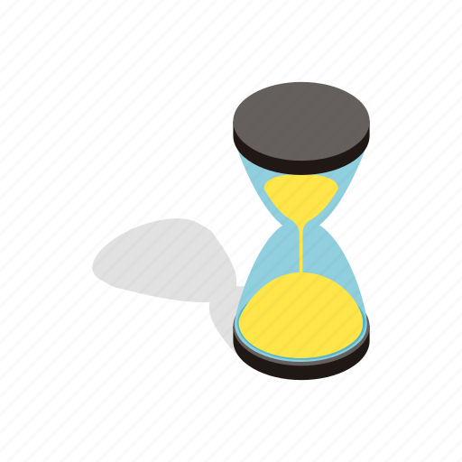 clock, glass, hour, hourglass, isometric, sand, time icon