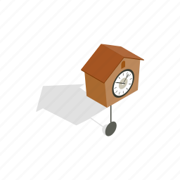 clock, cuckoo, hour, isometric, pendulum, time icon