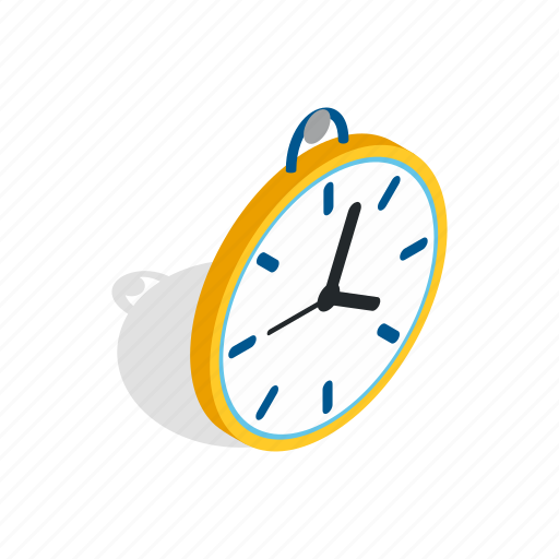 circle, clock, dial, hour, isometric, time, wall icon