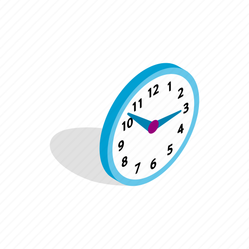 blue, clock, isometric, office, round, time, timer icon