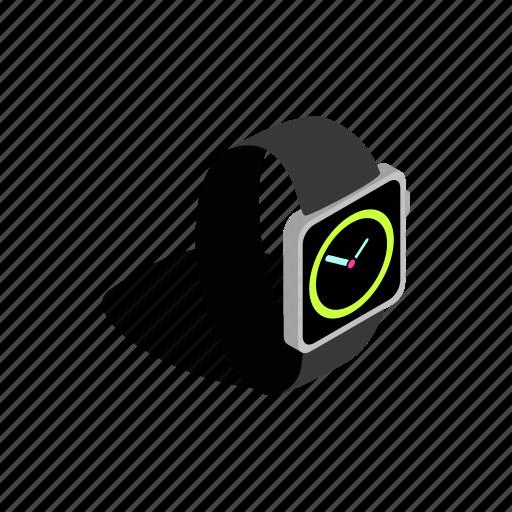 clock, hand, isometric, time, watch, wrist, wristwatch icon