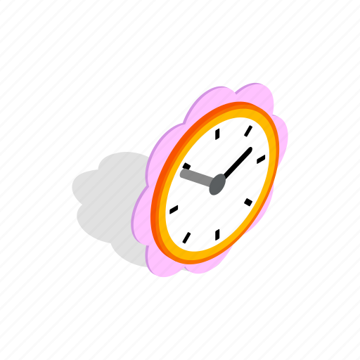 clock, daisy, dial, flower, isometric, time, watch icon