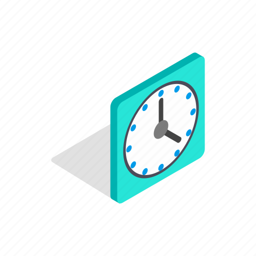 clock, isometric, minute, square, time, wall, watch icon