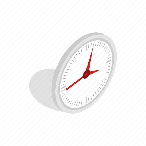 clock, hour, isometric, office, round, time, watch icon