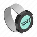 clock, digital, isometric, time, watch, wrist, wristwatch icon