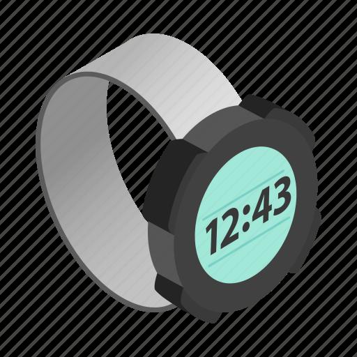 clock, digital, isometric, time, watch, wrist, wristwatch icon