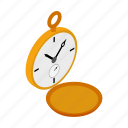 antique, gold, isometric, pocket, retro, time, watch icon
