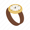 isometric, clock, watch, second, wrist, time, minute