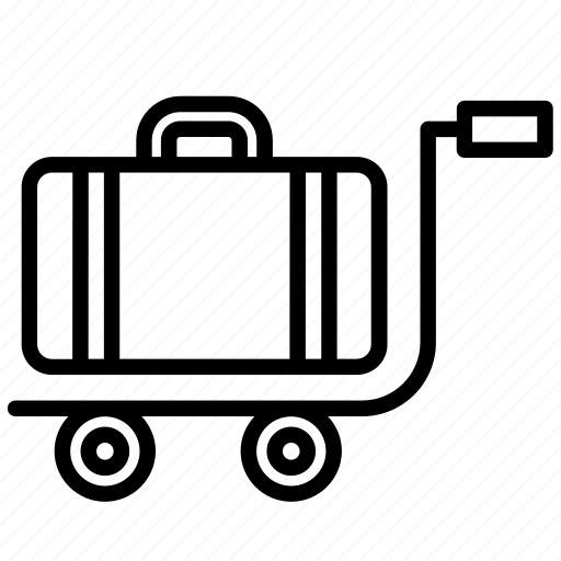accessory, airport, cart, luggage, suitcase, travel, trolley icon