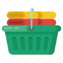 clean clothes, dry clothes, laundry basket, towels basket, washed clothes icon