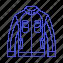 accessory, biker, black, clothes, garment, jacket, leather, racer icon